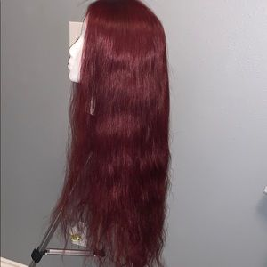 Burgundy lace front human hair wig